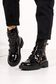 SHERRIE Black Faux Patent Leather Buckle Strap Ankle Boots