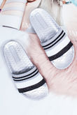 LULA Silver Croc Print Striped Strap Sliders