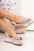 RAFIELLA Silver Diamante Strap Wrap Up Espadrille Flatforms