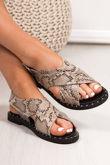 EMMIE Beige Snake Print Cross Strap Stud Sandals