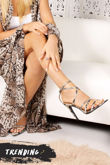 AURORA Snake Print Pointy Wrap Up Heels