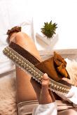 KIRA Tan Bow Aztec Stud Flatform Sandals