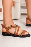 TARA Tan Snake Print Cross Strap Stud Sandals