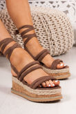 HARLOW Mocha Faux Suede Wrap Up Flatform Espadrille Sandals