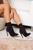 TEGAN Black Ribbed Sock Ankle Boots