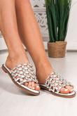 VENUS White Stud Slider Sandals With Silver Detail