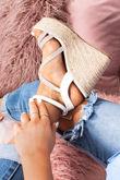 SAFFRON White Diamante Strap Espadrille Wedges