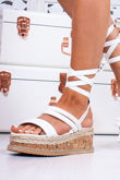 HARLOW White Faux Leather Wrap Up Flatform Espadrille Sandals
