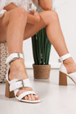 ROBERTA White Faux Leather Strap Block Heeled Sandals