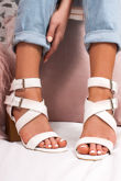 LAUREL White Cross Strap Block Heeled Sandals