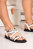 TARA White Snake Print Cross Strap Stud Sandals