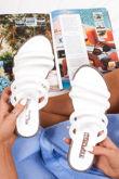 JENNA White Faux Leather Strap Stud Detail Sandals