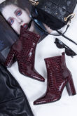 VIVIE Wine Croc Print Pointed Toe Heeled Ankle Boots
