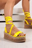 INDIGO Neon Yellow Wrap Up Espadrille Flatforms