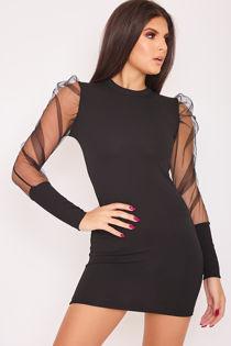 ELMA Black Mesh Puff Sleeve Bodycon Dress