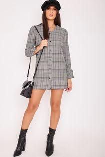 EVIE Monochrome Checked Shirt Dress