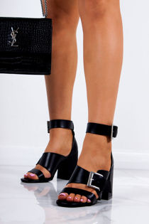 ROBERTA Black Faux Leather Strap Block Heeled Sandals