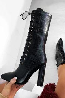 CASANDRA Black Croc Print Lace Up Block Heel Boots