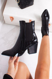 ALLIYAH Black Croc Cowboy Boots