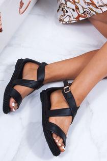 HEIDI Black Strappy Rope Sandals