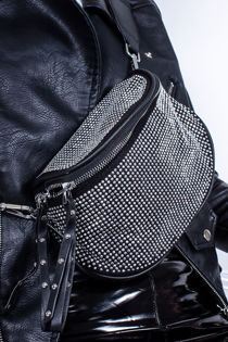 FELICIA Black Bum Bag With Silver Stud Detail