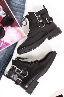 MALIN Black Faux Leather Buckle Biker Boots