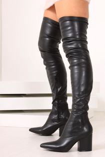 IVANNA Black Faux Leather Thigh High Boots