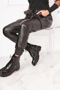 RENA Black Faux Leather Cargo Cuffed Joggers