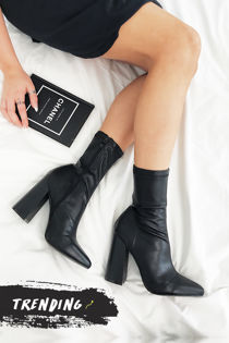 MIMI Black Fitted Block Heel Sock Boots In Faux Leather