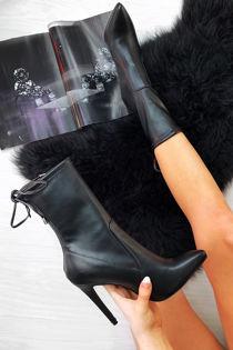 ZARA Black Faux Leather Tie Back Stiletto Boots