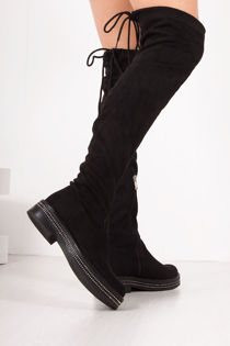 FRANKIE Black Diamante Faux Suede Flat Over The Knee Boots