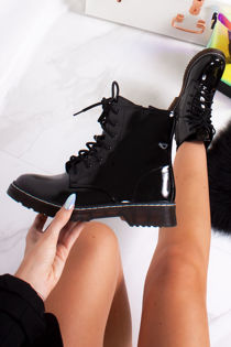 LAILA Black Faux Patent Leather Ankle Boot