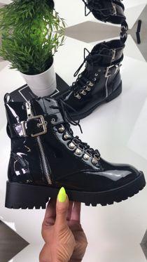 SHARNIE Black High Shine Buckle Strap Biker Boots