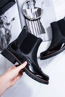 AVA Black Faux Leather Brogue Chelsea Boots