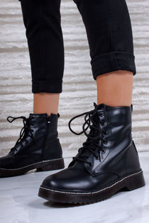 LAILA Black Faux Leather Ankle Boot