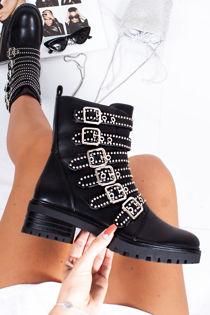HOPE Black Faux Leather Stud Buckle Strap Biker Boots