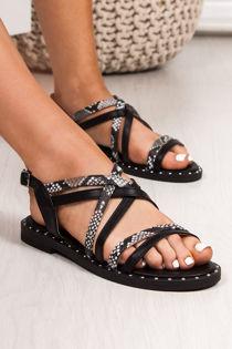 TARA Black Snake Print Cross Strap Stud Sandals