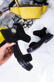 EDEN Black Chunky Sports Sandals