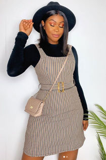 ALEXA Beige Checked Square Neck Belted Dress