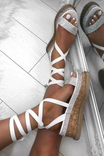 ESME White Diamante Wrap Up Flatforms
