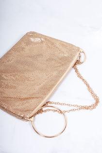 SABINE Gold Chainmail Gold Hoop Clutch Bag