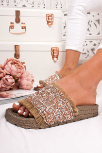 SAGE Bronze Diamante Strap Espadrille Slider