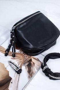 HEATHER Black Faux Leather Bum Bag