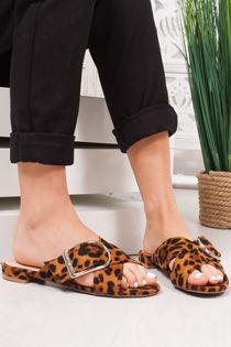 NADA Leopard Print Cross Strap Buckle Sandals