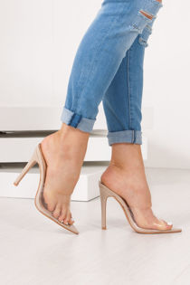 IVY Nude Patent Clear Strap Stiletto Mules