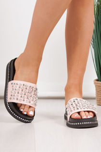 FINLEY Pink Stud Diamante Chunky Sliders