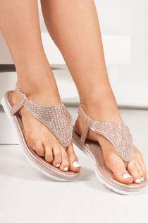FREYA Rose Gold Diamante Detail Slip On Sandals