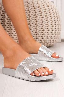 FIFI Silver Croc Print Metallic Strap Sliders