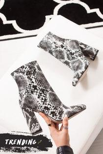 ARIEL Snake Print Block Heel Boots