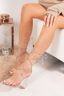 HEIDI Snake Print Wrap Up Clear Block Heels